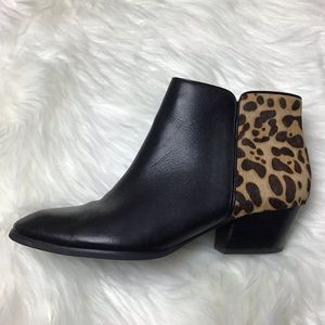 FRANCO SARTO Black and leopard Ankle Boots